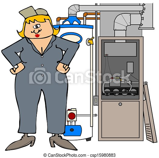 Female HVAC technician - csp15980883