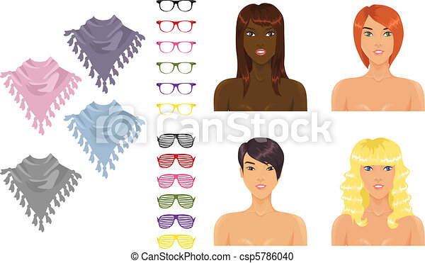 Female icons with accessories  - csp5786040