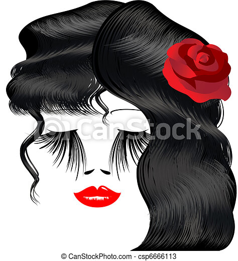female image with red rose - csp6666113