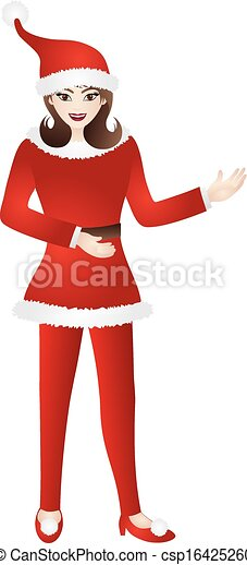 Female in Red Santa Suit Illustration - csp16425260