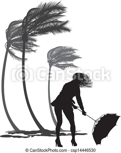 Female in the wind and trees palms  - csp14446530