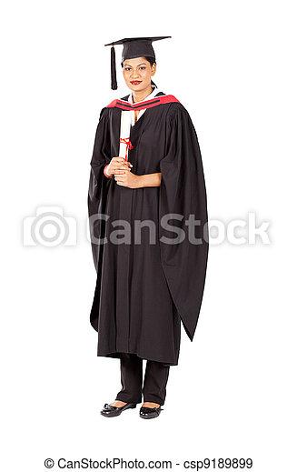 female Indian graduate isolated on white - csp9189899