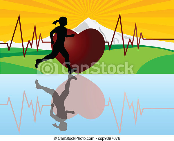 Female Jogger with Heartbeat Illustration - csp9897076