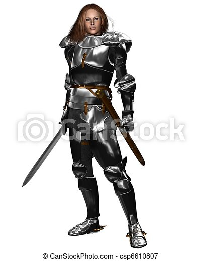 Female Knight in Shining Armour - csp6610807