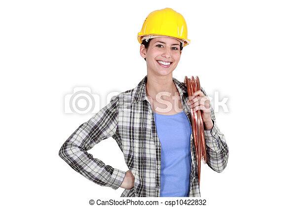 Female laborer on white background - csp10422832