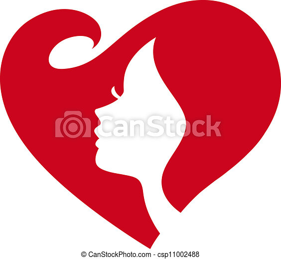 female lady silhouette red heart - csp11002488