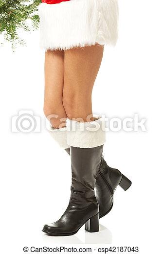 Female Legs In Santa Boots Female Legs In Santa High Boots Canstock