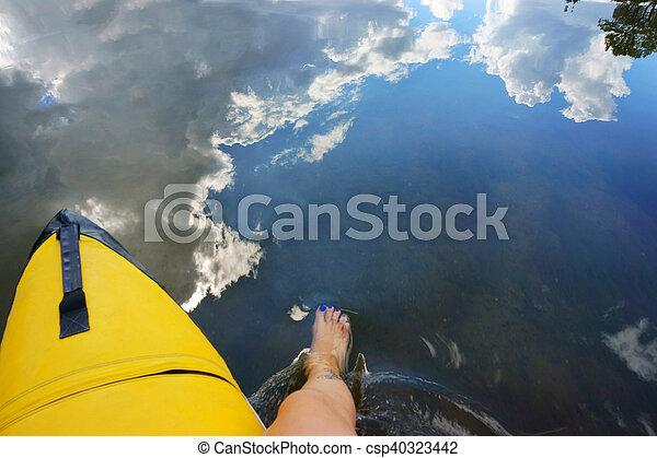 female legs in the river - csp40323442