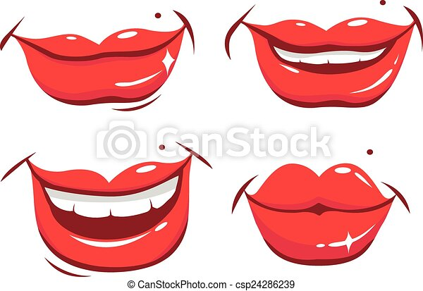 smiling female lips in various expressions vector set speech clip art free speech clip art cards