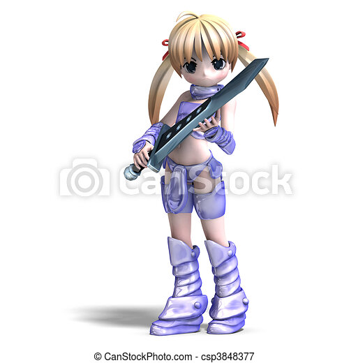 female manga paladin with huge sword. 3D rendering and shadow over white - csp3848377