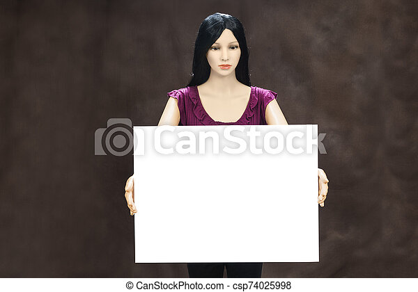 Female Mannequin With Blank Sign and Copy Space - csp74025998
