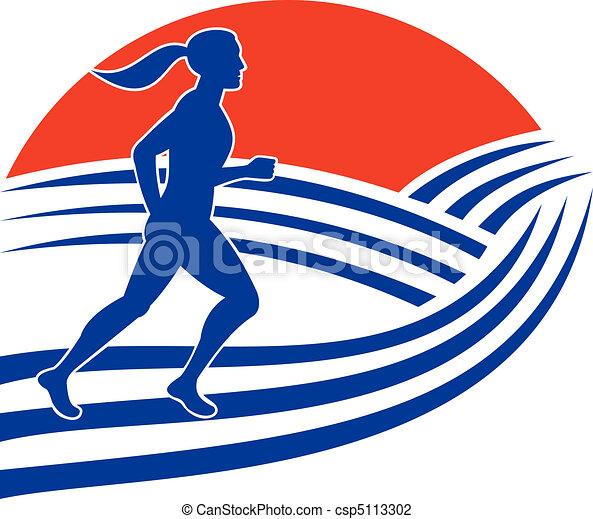 female marathon runner running  - csp5113302