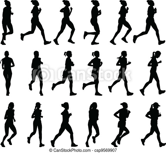 female marathon runners - csp9569907
