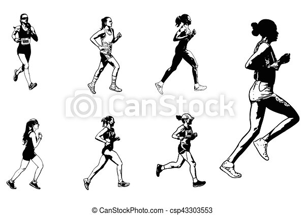 Line Drawing Female : Female marathon runners sketch illustration vector clipart