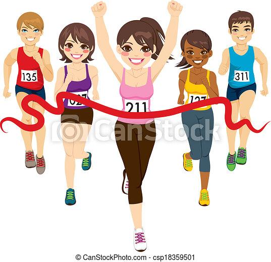 Female Marathon Winner Runner Winning A Against