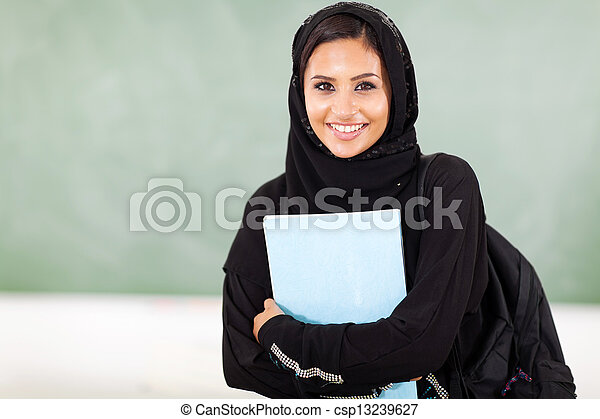 female middle eastern college student  - csp13239627