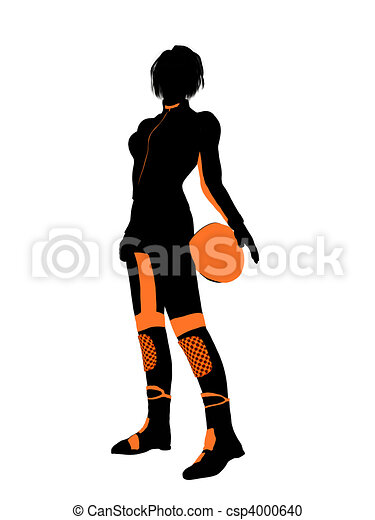 Female Motorcycle Rider Art Illustration Silhouette - csp4000640