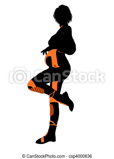 Female Motorcycle Rider Art Illustration Silhouette - csp4000636