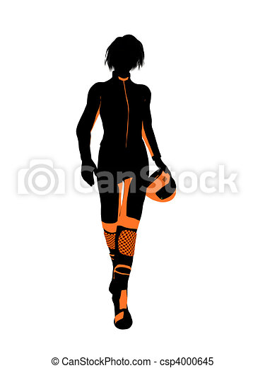 Female Motorcycle Rider Art Illustration Silhouette - csp4000645