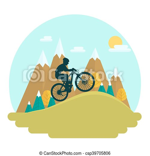 female mountain bike rider on scenic high peaks background rh canstockphoto com