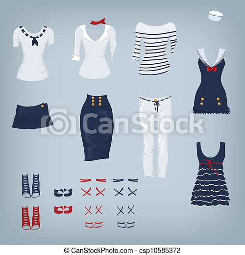 Female navy set of clothes - csp10585372