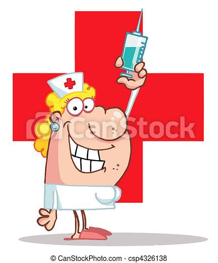 Female Nurse Holding A Syringe - csp4326138