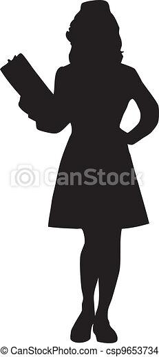 Female Nurse Silhouette - csp9653734