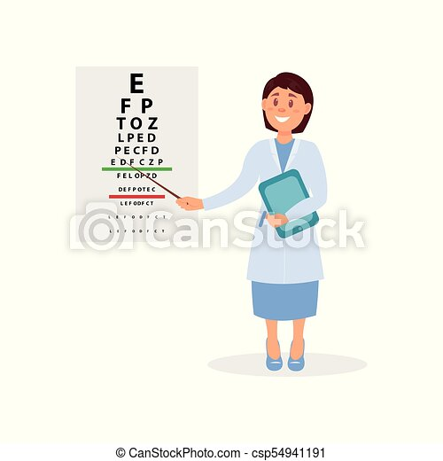 Female Ophthalmologist Holding Digital Tablet And Pointing At