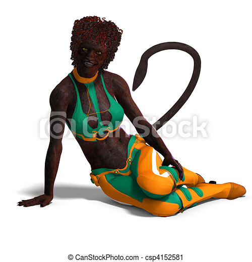 female panther fantasy creature. 3D rendering and shadow over white - csp4152581