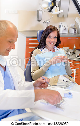 Female patient at dentist surgery  - csp18226959