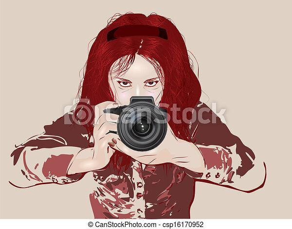 Grunge Camera Vector : Female photographer taking photos with her digital camera grunge