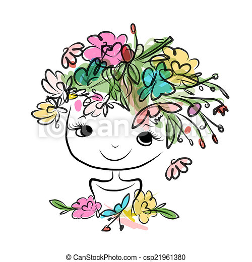 Female portrait with floral hairstyle for your design - csp21961380