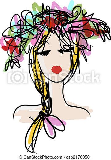 Female portrait with floral hairstyle for your design - csp21760501