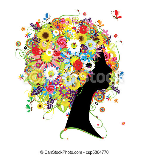 Female profile, floral hairstyle for your design - csp5864770
