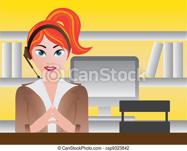 Female Receptionist Illustration - csp9323842