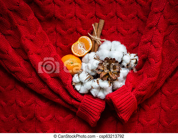 Female red knitted sweater pullover and bouquet of cotton, top view flat lay. Fashion Lady Clothes Jumper - csp63213792