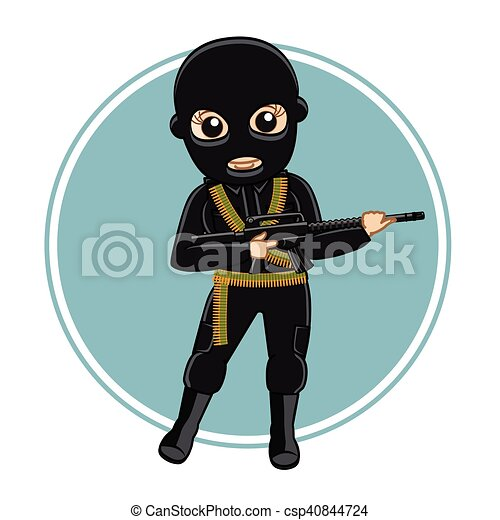 Female Robber with Gun in Black - csp40844724