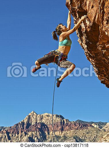 Female rock climber. - csp13817118