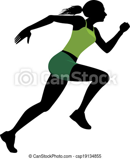 female runner silhouette of a running woman vector clipart rh canstockphoto com clip art running track clip art running shoes
