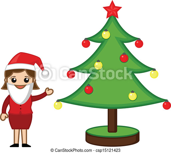 Female Santa Presenting Xmas Tree