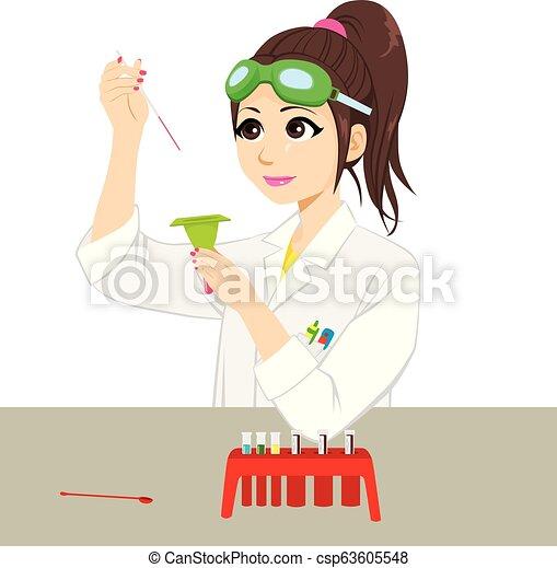 Female Scientist Experiment - csp63605548