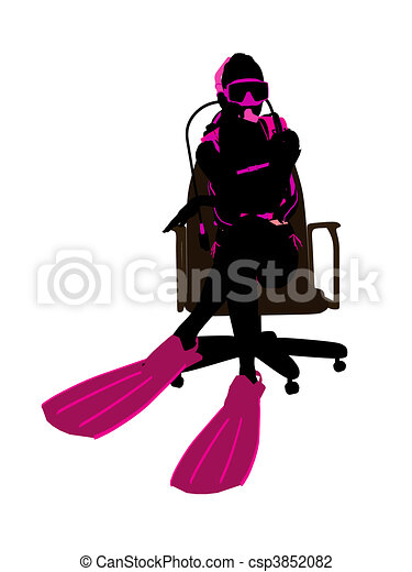 Female Scuba Diver Sitting On An Office Chair Illustration Silhouette - csp3852082