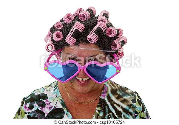 Female senior with funny wig  - csp10105724