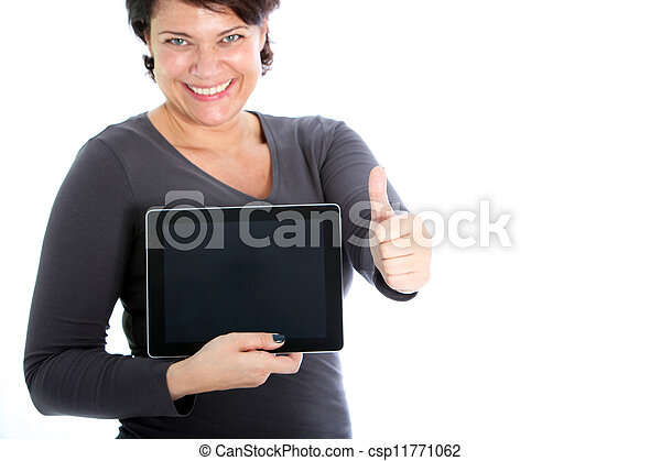 Female showing her tablet - csp11771062
