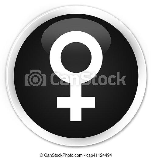 Female sign icon black glossy round button - csp41124494