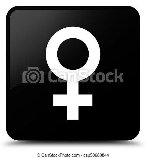 Female sign icon black square button - csp50680844