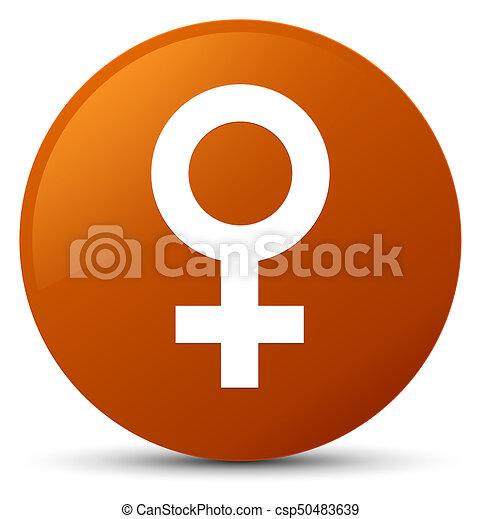 Female sign icon brown round button - csp50483639