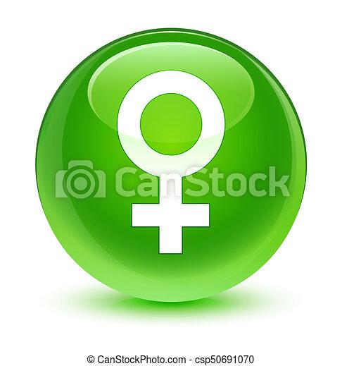 Female sign icon glassy green round button - csp50691070