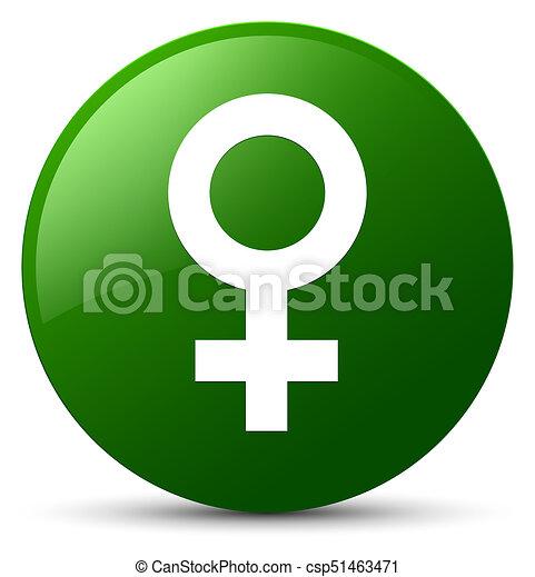 Female sign icon green round button - csp51463471
