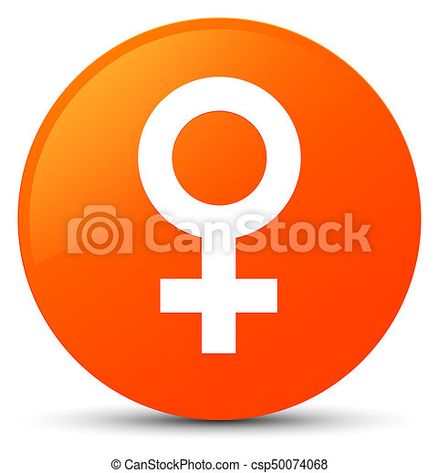 Female sign icon orange round button - csp50074068